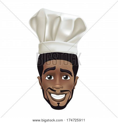 African men smiling chef. Black guy face avatar with smile and chefs hat.