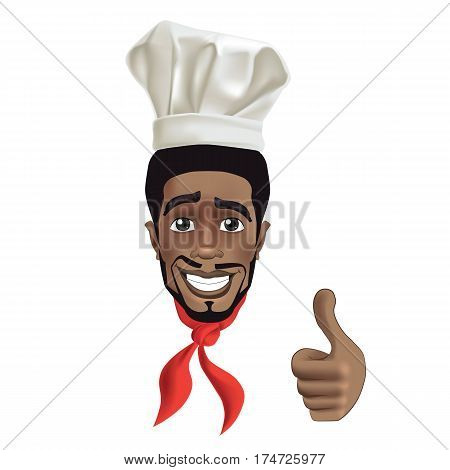 African men smiling chef. Black guy face avatar with smile, chefs hat and thumb up
