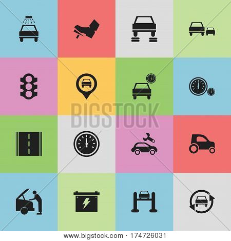 Set Of 16 Editable Traffic Icons. Includes Symbols Such As Car Fixing, Auto Repair, Stoplight And More. Can Be Used For Web, Mobile, UI And Infographic Design.
