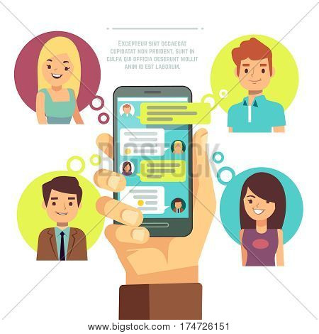 Hand holding smartphone with online chat with friends. mobile chat, social network, instant messaging sms vector concept. Internet communication with friends illustration