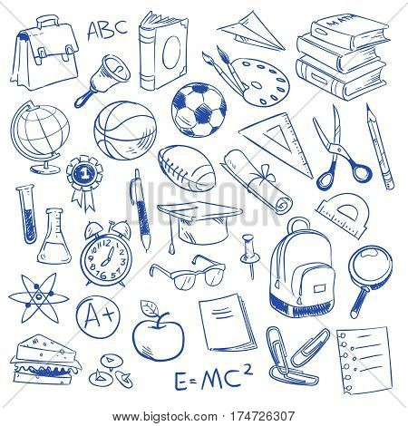 School education and science, geography and biology, physics and mathematics, astronomy and chemistry doodle, sketch drawing vector icons. Hand drawn education elements illustration