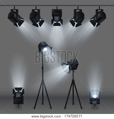 Lighted stage with studio spotlights vector illustration. Spotlight for studio and show, bright spotlights effect light illustration