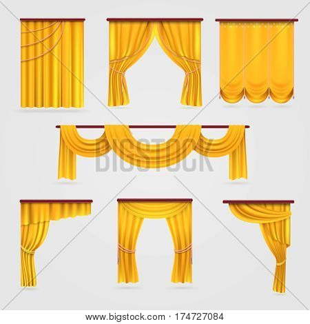Gold velvet curtain drapery, wedding stage decoration vector stock. Curtain for theater, illustration of textile curtain isolated