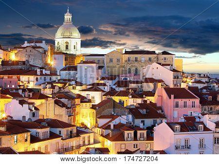 Lisbon skyline at night Alafama - Portugal