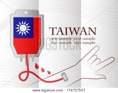 blood donation design made from the flag of Taiwan conceptual vector illustration.