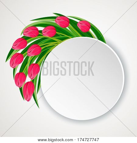 Spring flowers greeting card with blooming tulip flowers vector. Decorated spring flowers design for holiday. Vector flowers. Spring flowers concept. Summer flowers illustration. Bouquet of spring or summer flowers. Realistic vector flowers.