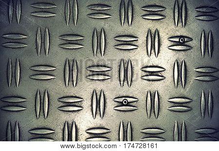 Texture of metal diamond plate closeup vintage effect