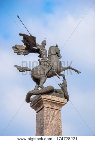 The bronze sculpture of St. George is part of memorial. It was opened May 8, 1975 for 30th anniversary of Great Victory. It is located inside Kremlin in Nizhny Novgorod region Demetrius Tower. Russia, Nizhny Novgorod. April 22, 2013