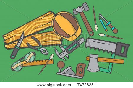 Woodworker workplace top view banner vector illustration. Carpentry professional service, forest product, wood industry. Woodworking tools, plane, hammer, saw, ruler, pliers, chisel, safety helmet.