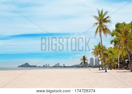 beautiful beach and tropical sea hua hin thailand