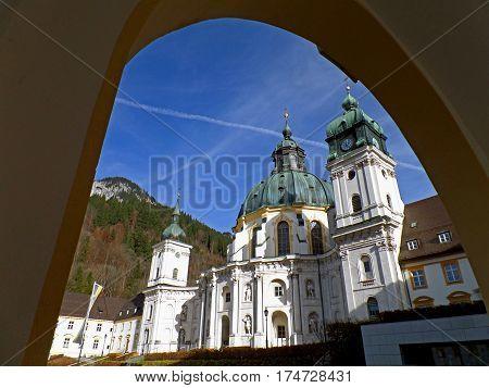 Impressive view of Ettal Abbey church, Kloster Ettal, Garmisch-partenkirchen, Bavaria, Germany