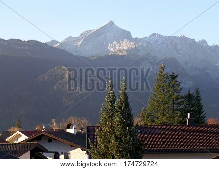 The Bavarian Alps Mountain in the Morning Sunlight, View from Garmisch-Partenkirchen, in Germany