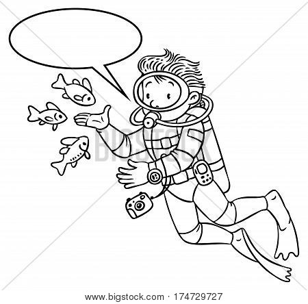 Coloring picture or coloring book of funny oceanologist or oceanographer, or diver in scuba gear near the fishes. Profession series. Children vector illustration. With balloon for text