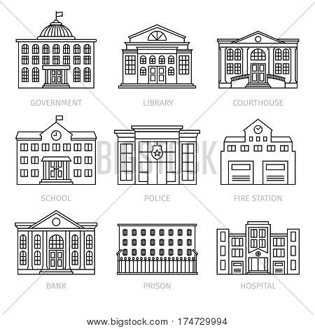 Education and government buildings thin line icons. Museum and school, library and prison house vector signs. Vector illustration
