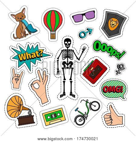 Quirky colorful retro style icons with skeleton and bike and hand signs. Vector badges or patches on white background