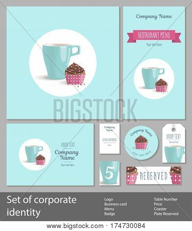 Set of corporate identity for a restaurant, cafe or confectionery, chocolate cake with cream in pink wrapper with polka dots and turquoise cup in circle on a turquoise background