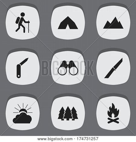 Set Of 9 Editable Camping Icons. Includes Symbols Such As Fever, Gait, Tepee And More. Can Be Used For Web, Mobile, UI And Infographic Design.