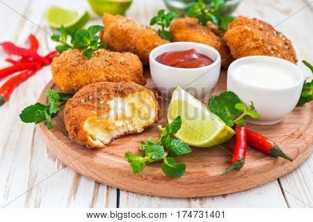 Spanish Croquetas (croquettes) With Shrimp, Mint And Chilly