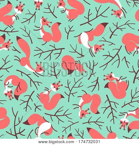 A Scurry of Squirrels on the branches. Seamless summer pattern for gift wrapping, wallpaper, childrens room or clothing. Vector illustration