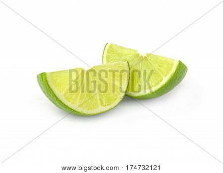 Lime wedges isolated on a white cutout