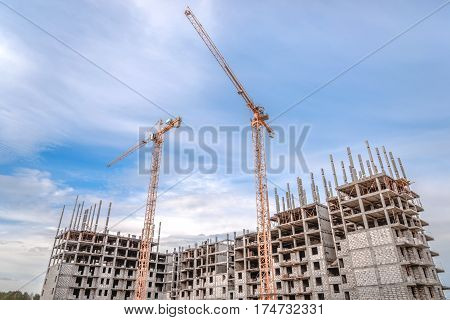 New multi-storey building and construction machinery/Construction works and building crane