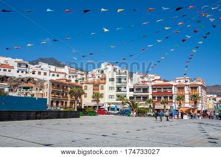 CANDELARIA TENERIFE SPAIN - FEBRUARY 1 2012: Everyday life on Square of the Saint Patron of the Canary Islands - one of the
