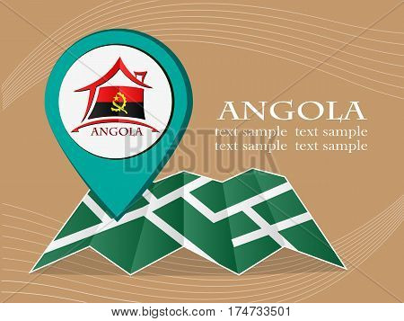 map with pointer flag Angola vector illustration eps 10