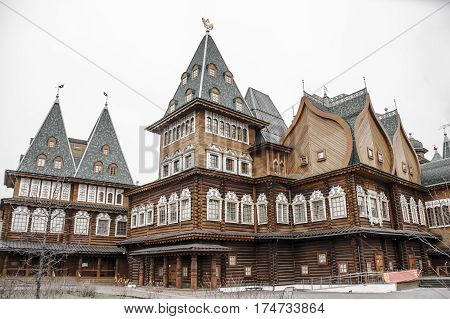 Wooden palace of Tsar Alexey Mikhailovich in park Kolomenskoe in Moscow, Russia.