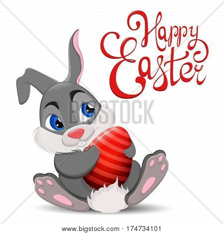 Gray Easter Rabbit sitting and holding egg. Cute cartoon Easter Bunny character with hand drawn lettering. Stock vector illustration