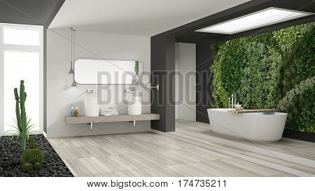 Minimalist White And Gray Bathroom With Vertical And Succulent Garden, Wooden Floor And Pebbles, Hot