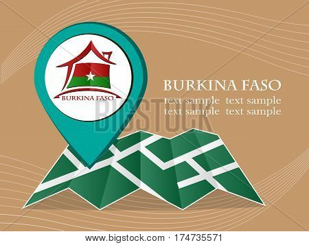 map with pointer flag Burkina Faso vector illustration eps 10.