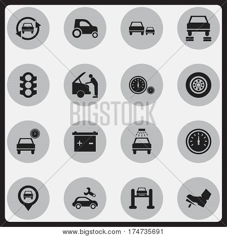 Set Of 16 Editable Vehicle Icons. Includes Symbols Such As Stoplight, Pointer, Automobile And More. Can Be Used For Web, Mobile, UI And Infographic Design.