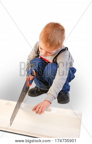 Boy Child With The Building Tool. Isolated On White Background. The Child Worker, The Builder. Saws