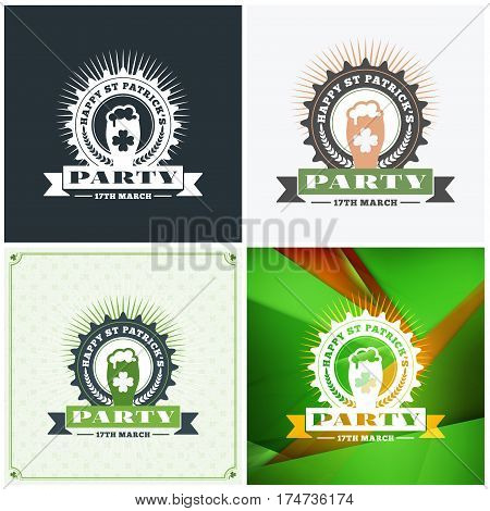 St. Patricks Day Badge Design. Set Of Vector Typographic Posters Or Greetings Cards. Saint Patricks