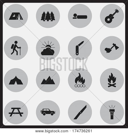 Set Of 16 Editable Trip Icons. Includes Symbols Such As Bedroll, Lantern, Sunrise And More. Can Be Used For Web, Mobile, UI And Infographic Design.