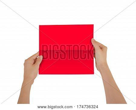 Hands Holding Blank Red Brochure Booklet In The Hand. Leaflet Presentation. Pamphlet Hand Man. Show