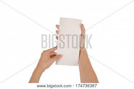 Hands Holding Blank White Brochure Booklet In The Hand. Leaflet Presentation. Pamphlet Hand Man. Sho
