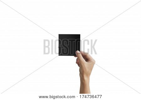 Right Hand Holding Black Square Paper In The Right Hand. Leaflet Presentation. Pamphlet Hand Man. Ma
