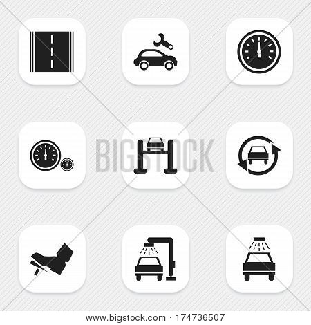 Set Of 9 Editable Transport Icons. Includes Symbols Such As Car Lave, Highway, Speed Control And More. Can Be Used For Web, Mobile, UI And Infographic Design.