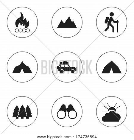 Set Of 9 Editable Trip Icons. Includes Symbols Such As Tepee, Voyage Car, Peak And More. Can Be Used For Web, Mobile, UI And Infographic Design.