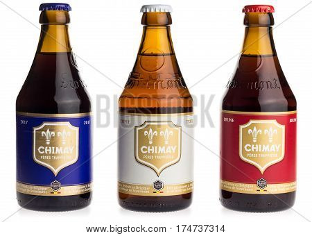 GRONINGEN, NETHERLANDS - MARCH 04, 2017: Bottles of Chimay Blue, White and Red beer isolated on a white background