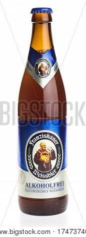 GRONINGEN, NETHERLANDS - FEBRUARY 24, 2017: Bottle of German Franziskaner non alcoholic wheat beer, isolated on a white background