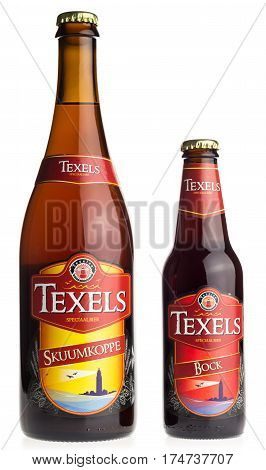GRONINGEN, NETHERLANDS - MARCH 04, 2017: Large and small bottle of dutch Texels craft beer isolated on a white background