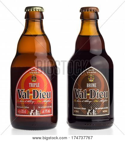 GRONINGEN, NETHERLANDS - MARCH 04, 2017: Bottle of Belgian Val Dieu Brune and Triple beer isolated on a white background
