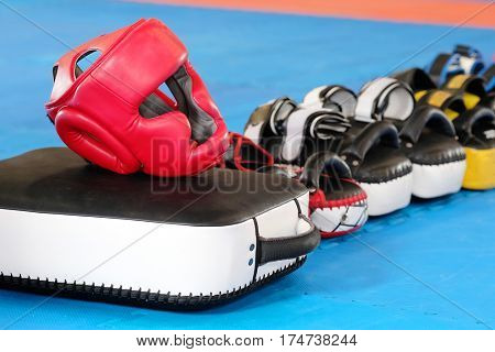 Boxing helmet and other boxing equipment close up