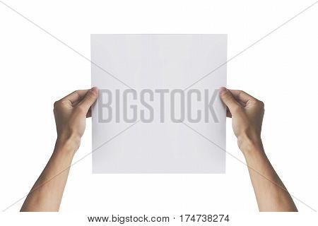 Two Hands Holding Square Paper In The Right Hand. Leaflet Presentation. Pamphlet Hand Man. Man Show