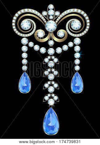 Golden brooch with diamonds and sapphire teardrop shape
