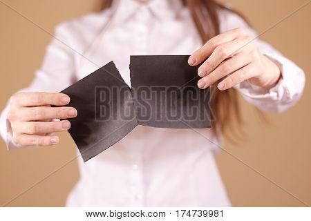 Girl Tearing A Piece Of Paper In Half Blank White Flyer Brochure Booklet. Leaflet Presentation. Pamp