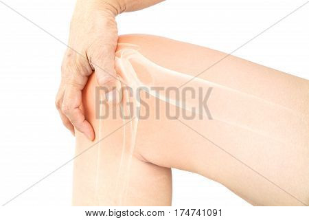Knee bone pain white background Knee bones