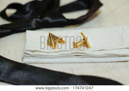 Set For Men. For A Classic Suit. Black Tie, White Linen Handkerchief, Gold Cufflinks.